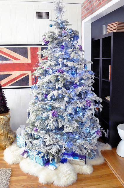 flocked christmas tree purple  blue chirstmas bylove maegan christmas trees