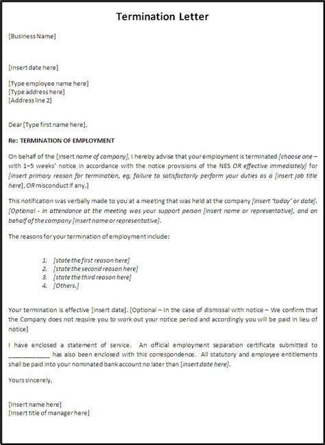 employment termination letter free printable documents
