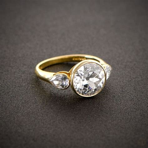 Bezel Set Engagement Rings by Vintage Style Engagement Ring Gold Set Pear And