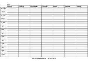Blank Weekly Calendar With Time Slots   Calendar Template