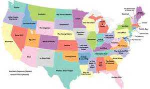 show me the united states map this map shows the most popular television show set in