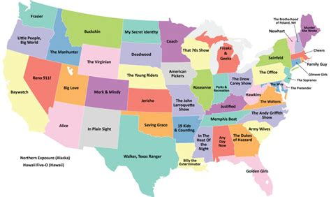 states place this map shows the most popular television show set in