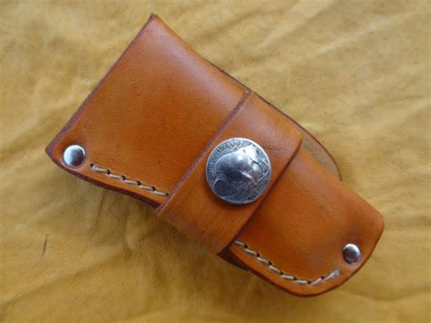 Handmade Knife Sheaths - handmade leather knife sheath buck 110 folding