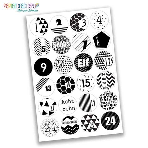 Sticker Zahlen Adventskalender by 24 Adventskalender Zahlen Aufkleber Schwarz Wei 223
