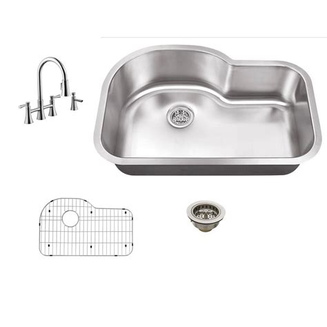 undermount kitchen sink with faucet holes schon all in one undermount stainless steel 32 in 0