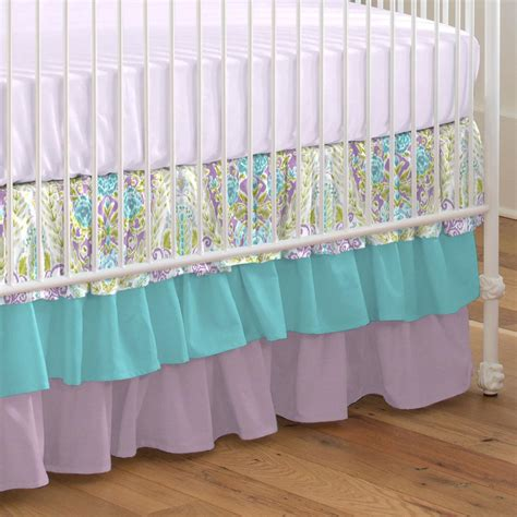 Aqua And Purple Jasmine Crib Skirt Three Tier Carousel Bed Skirts For Baby Cribs