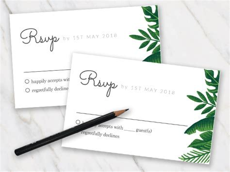 Printable FREE Wedding RSVP Template & Cards Microsoft