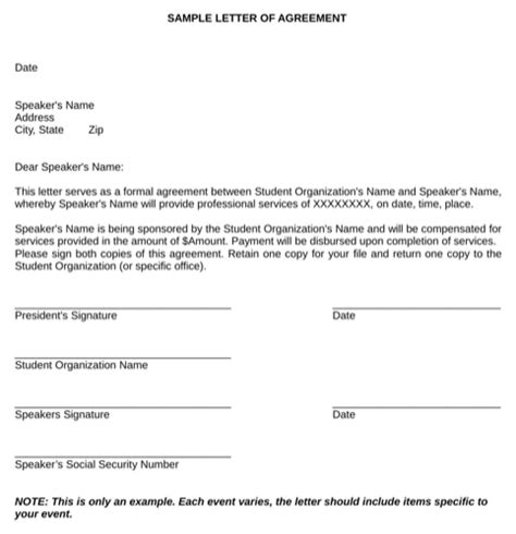 Manitoba Health Letter Of Agreement Sle Letter Of Agreement For Excel Pdf And Word