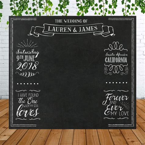Wedding Backdrop Chalkboard by Personalized Chalkboard Wedding Backdrop For Photo Booth