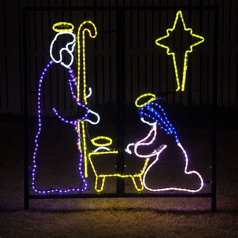 rope light sculptures led nativity manger scene