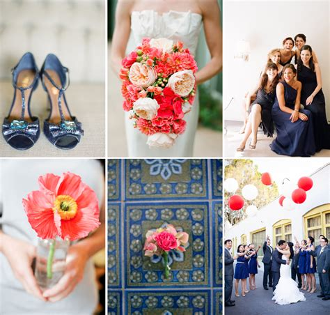 navy and neon coral wedding color inspiration onewed com