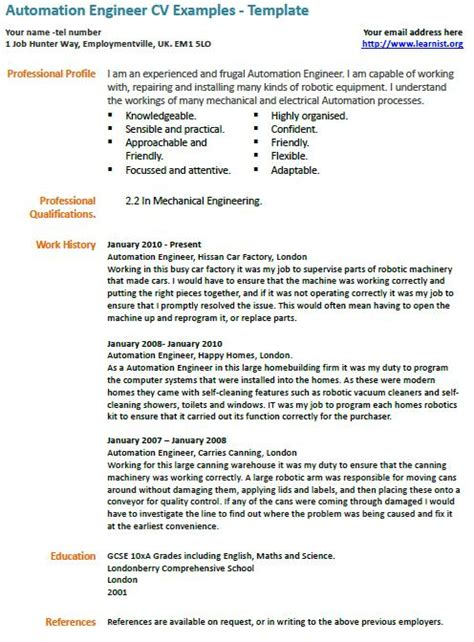 Automation Engineer Cover Letter by Automation Engineer Cv Exle Learnist Org