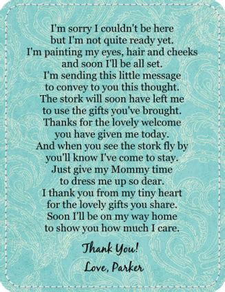 Baby Shower Thank You Poems From And by My Ramblings Baby Shower Post 6 The Favors