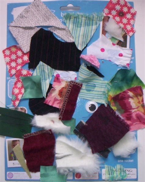 fabric crafts for children fabric collage cut up clothes childrens craft