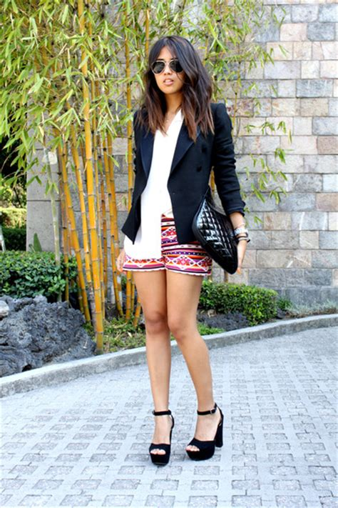 blackpink zara hot pink tribal tailored shorts black zara blazers white