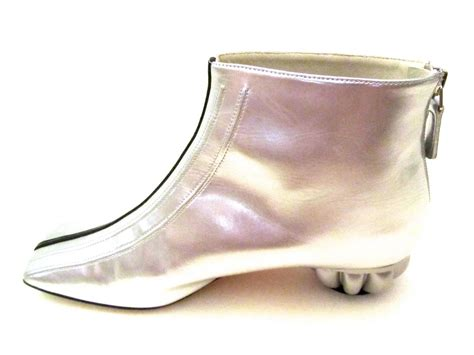 chanel shoes for chanel boots patent leather silver with black stripe