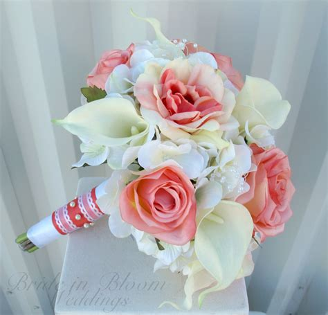 Country Home Decorations by Wedding Bouquet Coral Rose White Real Touch Calla Lily