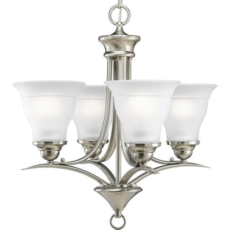 progress lighting calven collection 4 light brushed nickel bath light p3236 09wb the home depot progress lighting collection 4 light brushed nickel chandelier with etched glass p4326