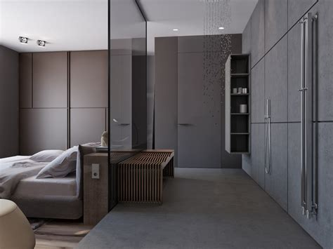 bedroom with open bathroom two apartments with sleek grayscale interiors