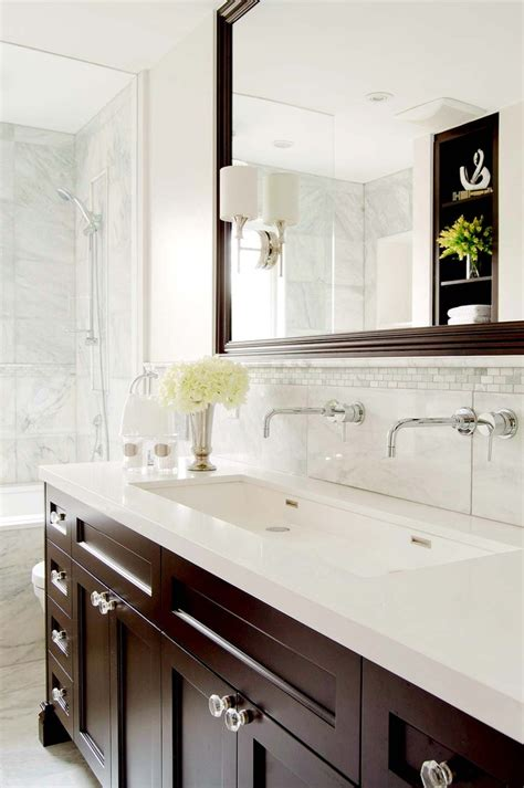 Ideas Design For Bathroom Trough Sink Trough Sink Bathroom Traditional With Trough Sink Brown Vanity