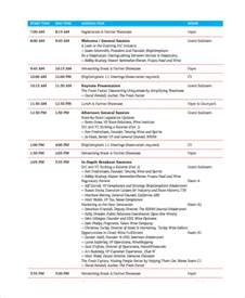 conference agenda template sle conference agenda 7 documents in pdf word