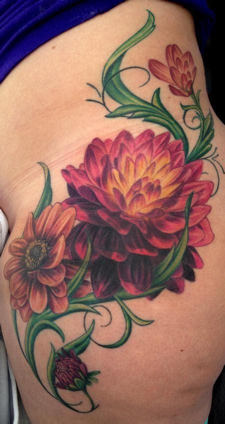 unify company tattoos realistic dahlia