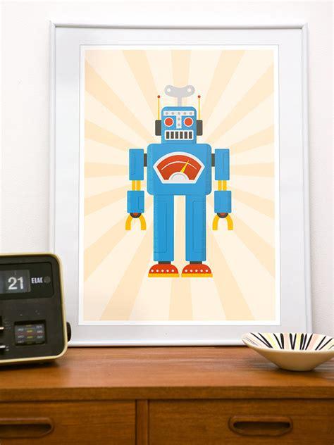 retro nursery decor nursery decor nursery print retro robot print for