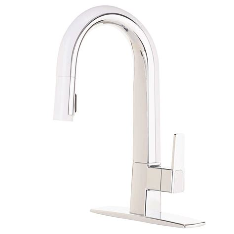 white pull kitchen faucet cleanflo matisse single handle pull sprayer kitchen