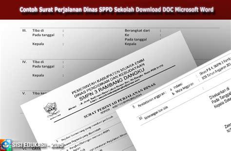 file pendidikan contoh sppd surat perjalanan dinas sekolah