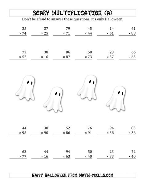 printable halloween multiplication worksheets multiplication practice worksheets grade x on graph paper