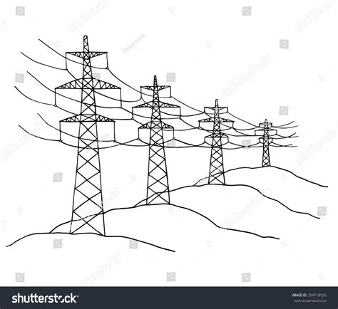 power lines delivering energy standing stock