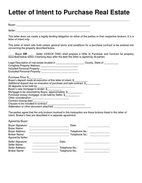 Letter Of Intent On Property Letter Of Intent Real Estate Free Printable Documents
