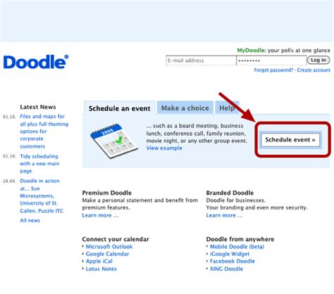 using doodle to schedule events find a meeting time with doodle