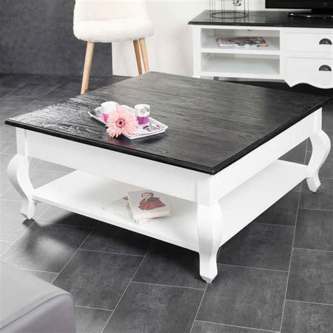 table basse acajou bois massif carree blanche noire