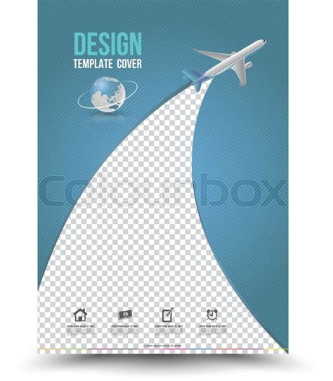 Front Cover Of Book Report by Cover Page Layout Template With Paper Airplane Vector Illustration Can Use For Leaflet