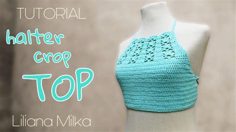 crop top a crochet paso a paso halter crop top aqua paso a paso crochet