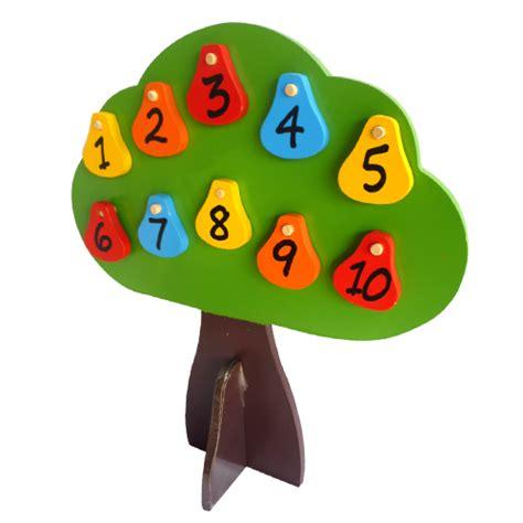 Puzzle Kayu Angka 1 20 pohon angka bolak balik mainan kayu