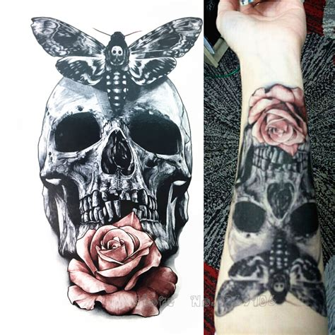 tattoo garden 52 photos 37 reviews tattoo 5205 s buy 2016 21 x 15 cm skull with moth and flower cool beauty
