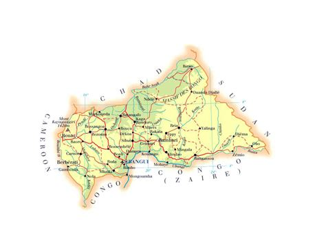 physical map of central africa detailed physical and road map of central republic
