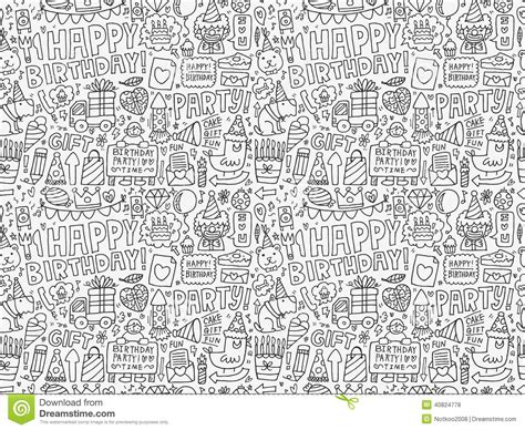 doodle fill free seamless doodle birthday pattern background stock