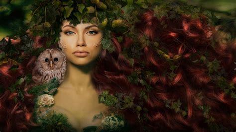 lady green tree leaves red hair owl fantasy art hd