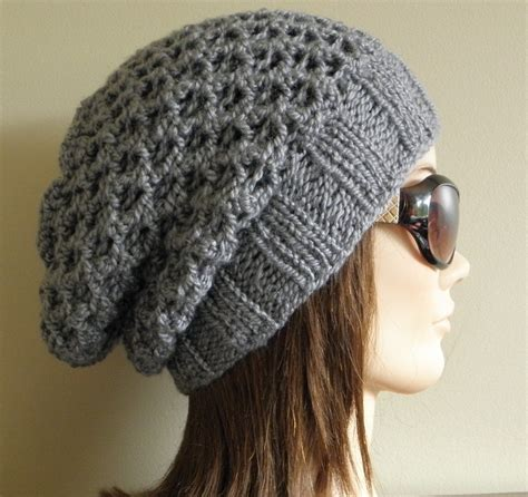 slouchy knit beanie pdf knitting pattern knit slouchy hat latissa