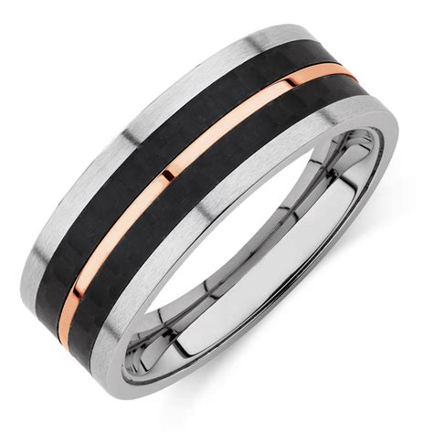 Mens Ring by S Ring In Black Plated Stainless Steel