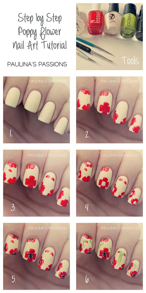 nail tutorial poppy flowers nails tutorial archives