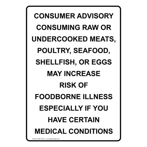 Consuming Or Undercooked Food Notice by Portrait Consumer Advisory Consuming Or Sign Nhep 33129