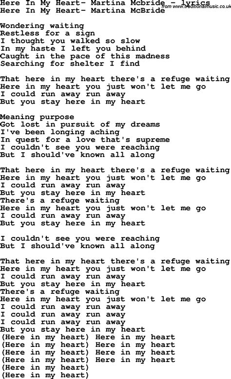 song lyrics martina mcbride song lyrics for here in my martina mcbride