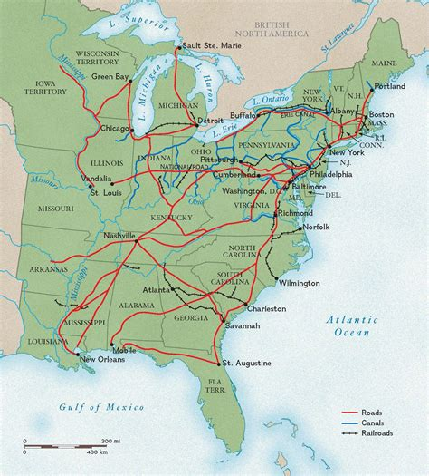 map usa early 1800s roads canals and rails in the 1800s national