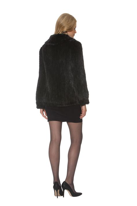 knitted mink jacket knitted mink jacket midnight black zippered