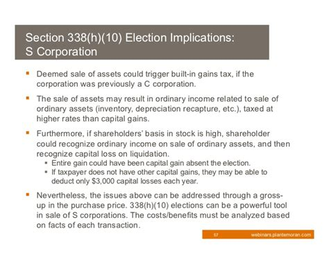 section 338 h 10 election 2011 tax update
