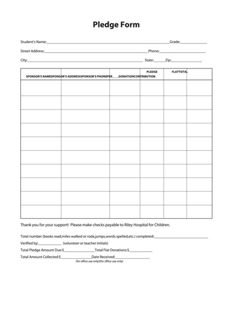 sample pledge form printable